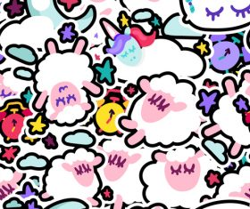 Cartoon sheep good night patterns vector