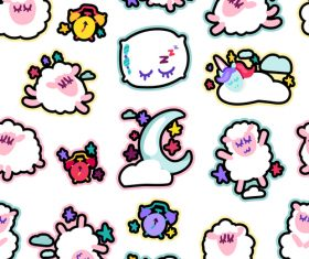 Cartoon sheep seamless patterns vector