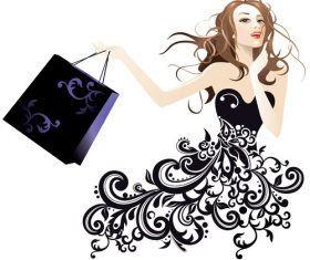 Cartoon silhouette fashion woman shopping vector