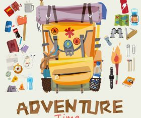Cartoon travel backpack illustration vector
