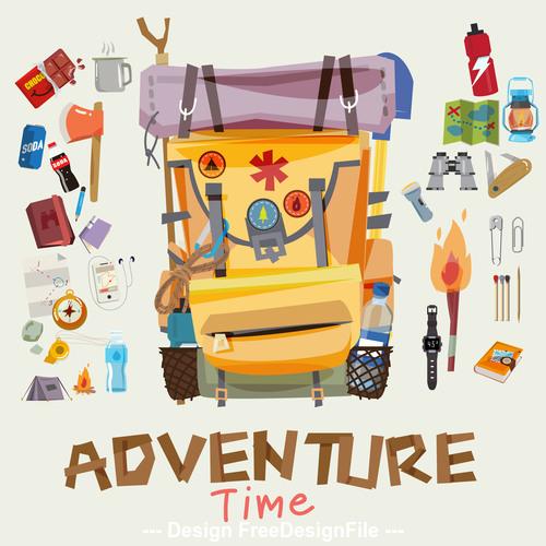 Cartoon travel backpack illustration vector