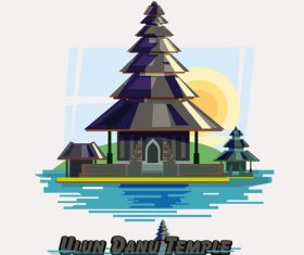 Cartoon ulun danu temple illustration vector
