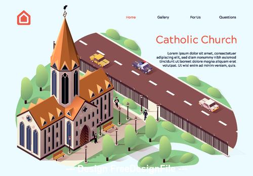 Catholic church cartoon illustration vector