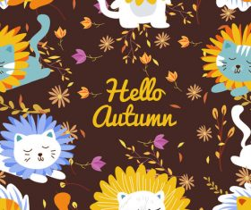 Cats autumn pattern vector
