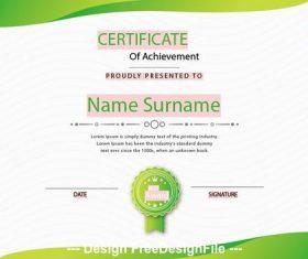 Certificate of achievement templates green vector