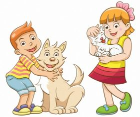 Children and pets cartoon vector