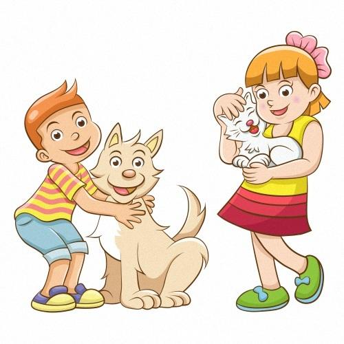 Children and pets cartoon vector