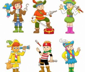 Children dress up pirate vector