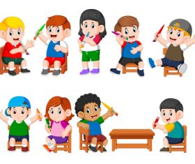 Children holding brushes cartoon illustration vector