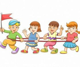 Children playing games cartoon vector