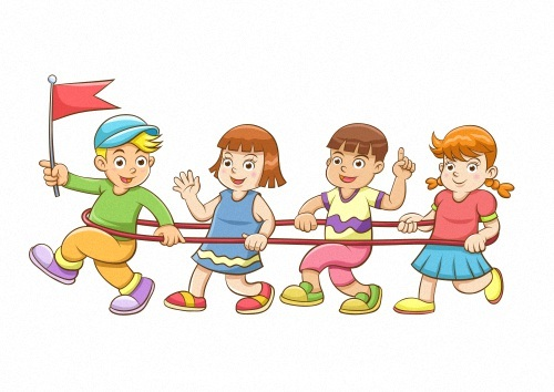Children playing games cartoon vector