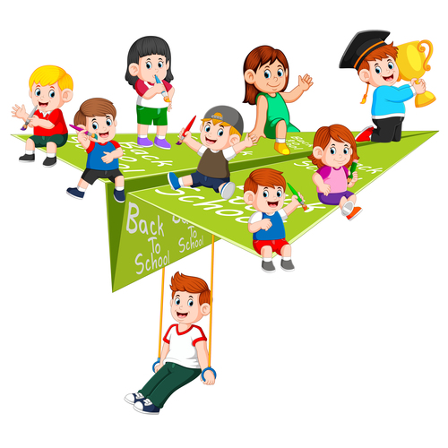 Childrens and paper airplane cartoon illustration vector
