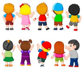 Childrens back cartoon illustration vector