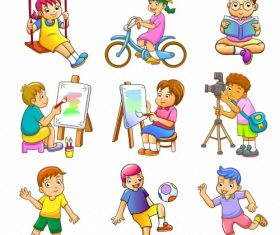 Childrens daily life vector