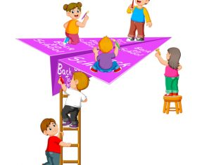 Childrens writing on paper planes cartoon illustration vector