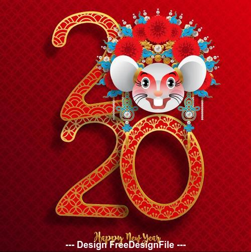 China Happy rat 2020 new year vector