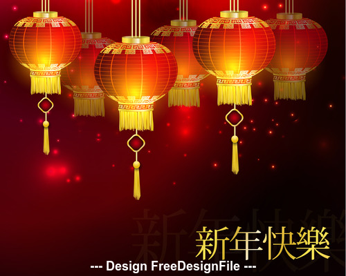 China New Year and red lanterns vector
