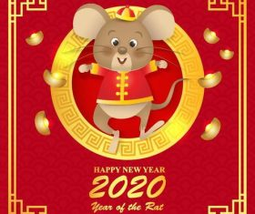 China Rat cartoon New Year 2020 illustration vector