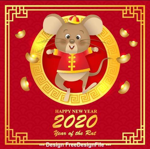 China Rat cartoon New Year 2020 illustration vector