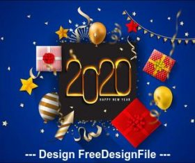 Christmas gift and 2020 new year greeting card vector