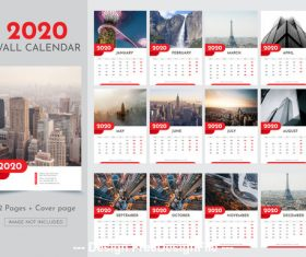 City background 2020 new year wall calendar vector