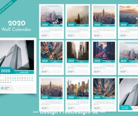 City scenery 2020 new year wall calendar vector