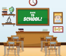 Classroom cartoon illustration vector