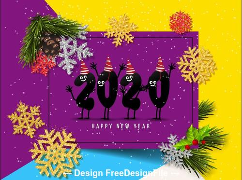 Color 2020 christmas greeting card vector