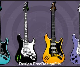 Color guitar electric guitars art vector