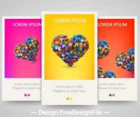 Color heart shape vertical banners vector