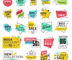Color modern illustration sale labels vector