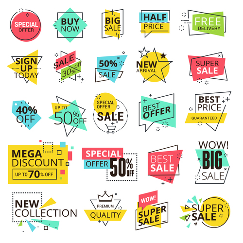 Color modern illustration sale labels vector