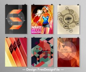 Color poster collection vector