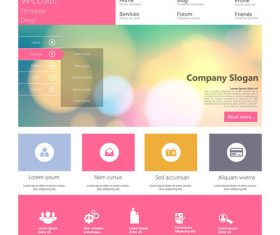 Color website templates design vector