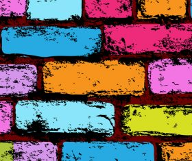 Colored brick wall background vector
