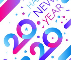Colorful stripes 2020 happy new year illustration vector