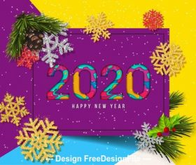 Colour geometric graphics 2020 christmas greeting card vector