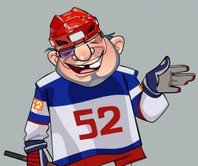 Comic cartoon hockey player vector