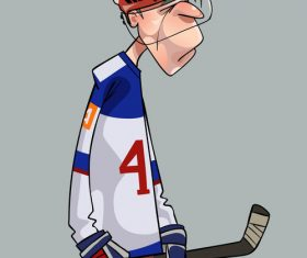 Comic sad hockey player cartoon vector
