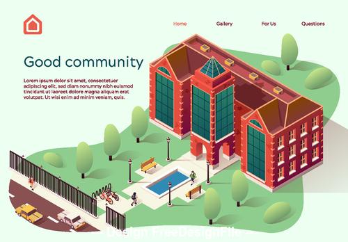 Community cartoon illustration vector