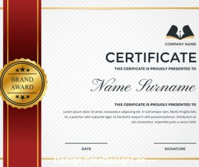 Company golden logo and performance certificate vector