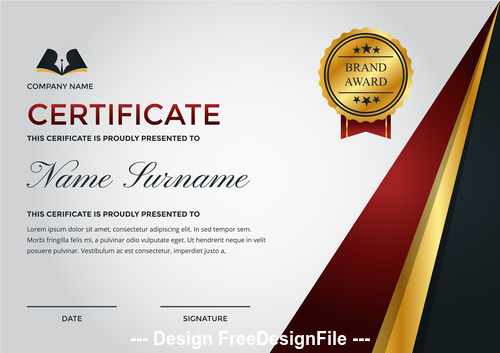 Company performance certificate and golden logo vector