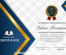 Company performance certificate and logo appreciation template vector 01
