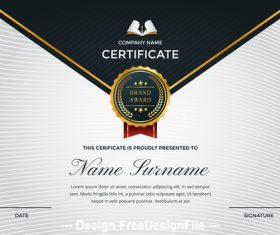 Company performance certificate and logo appreciation template vector 02