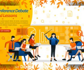 Conference debate and lessons business template vector