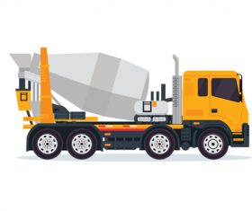 Construction mixer truck cartoon vector
