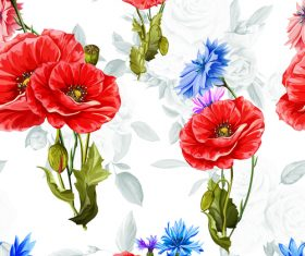 Cornflowers seamless pattern vector