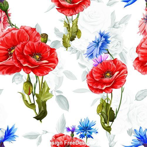 Cornflowers seamless pattern vector