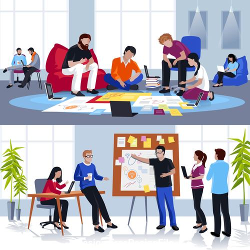 Coworking people flat compositions template illustration vector