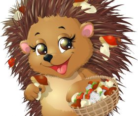 Cute cartoon animal hedgehog vector